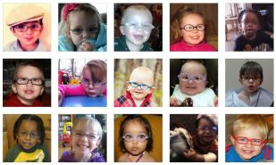 photos of young children in glasses